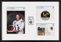 Apollo 11: Deluxe Framed Presentation including a Flown Silver Robbins Medallion MS66 NGC, a Crew-Signed Insurance Cover...