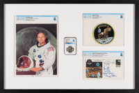 Apollo 11: Deluxe Framed Presentation including a Flown Silver Robbins Medallion MS67 NGC, a Crew-Signed Insurance Cover...