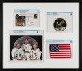 Explorers:Space Exploration, Apollo 11: Deluxe Limited Edition (#4/11) Framed Presentation including a Flown American Flag, a Crew-Signed Insurance Cover, ...