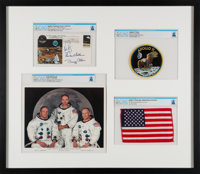 Apollo 11: Deluxe Limited Edition (#4/11) Framed Presentation including a Flown American Flag, a Crew-Signed Insurance C...
