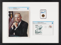 Gemini 8: Special One-Of-A-Kind Framed Presentation Including a Flown Gilt Fliteline Medallion MS63 NGC, a Launch Cover...