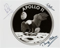 Explorers:Space Exploration, Apollo 11 Crew-Signed Original 1969 NASA Mission Insignia Photo with Steve Zarelli Letter of Authenticity. ...