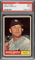 Baseball Cards:Singles (1960-1969), 1961 Topps Mickey Mantle #300 PSA Mint 9 - Only Two Higher....