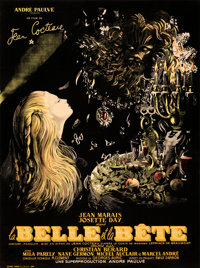 "La Belle et la Bete (DisCina, R-1951). Very Fine+ on Linen. Full-Bleed French Grande (46"" X 61.5"") Jean-Denis..."