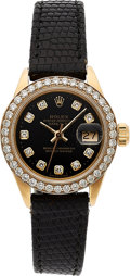 Timepieces:Wristwatch, Rolex, Lady's 18k Gold Diamond Dial And Bezel Oyster Perpetual Datejust, Ref. 6917, circa 1974. ...