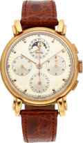 Timepieces:Wristwatch, Breitling, 18k Pink Gold Moonphase Chronograph, Ref. 130001, Fancy Lugs, Circa 1990's. ...