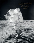 Explorers:Space Exploration, Edgar Mitchell Signed Large Apollo 14 Lunar Surface Photo....