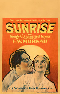 "Sunrise (Fox, 1927). Fine+. Window Card (14"" X 22"")"