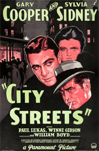 "City Streets (Paramount, 1931). Good/Very Good on Linen. Full-Bleed One Sheet (26"" X 39.75"") Style A"