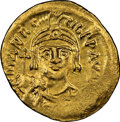 Ancients:Byzantine, Ancients: Maurice Tiberius (AD 582-602). AV solidus (20mm, 4.42 gm, 7h). NGC Choice AU 3/5 - 4/5....