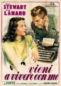 """Come Live with Me (MGM, 1948). Folded, Very Fine. First Post-War Release Italian 4 - Fogli (55"""" X 78"""") Ercole..."""