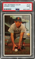 Baseball Cards:Singles (1950-1959), 1953 Bowman Color Johnny Lipon #123 PSA Mint 9 - Only One Higher....