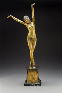 Demétre Chiparus (French 1886-1947) Egyptian Dancer, circa 1925 Gilt bronze and marble 29 x 12 x