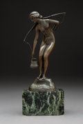 Sculpture, Franz Iffland (Germany, 1862 - 1935). Girl Drawing Water, 1892-1915. Bronze . 10 x 3-1/2 x 3-1/2 inches (25.4 x 8.9 x 8....