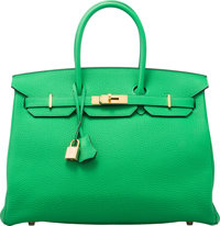 Hermès 35cm Bamboo Clemence Leather Birkin Bag with Gold Hardware R Square, 2014 Condition: 2