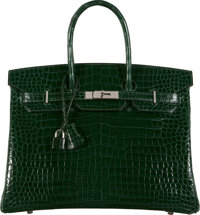 Hermès 35cm Shiny Vert Fonce Porosus Crocodile Birkin Bag with Palladium Hardware J Square, 2006 Condition: 2