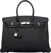 Hermès 35cm Black Togo Leather Birkin Bag with Palladium Hardware H Square, 2004 Condition: 3