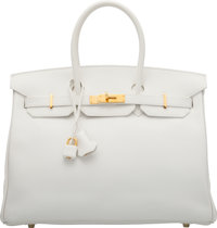 Hermès 35cm White Swift Leather Birkin Bag with Gold Hardware L Square 2008 Condition: 2<