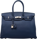 Luxury Accessories:Bags, Hermès 35cm Blue de Prusse Togo Leather Birkin Bag with P...