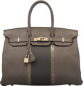 Luxury Accessories:Bags, Hermès 35cm Etain & Graphite Clemence Leather & Gris Fonc...