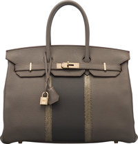 Hermès 35cm Etain & Graphite Clemence Leather & Gris Fonce Lizard Club Birkin Bag with Palladium...