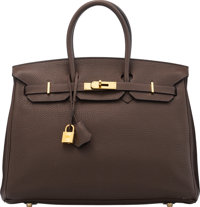 Hermès 35cm Chocolate Clemence Leather Birkin Bag with Gold Hardware N Square, 2010 Condition: 3<