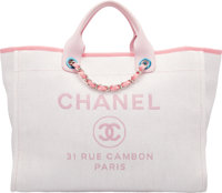 "Chanel Light Pink Woven Straw Large Deauville Tote Bag Condition: 1 15"" Width x 11"" Height x 7"" D"