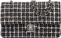 Luxury Accessories:Bags, Chanel Black & White Tweed Medium Double Flap Bag with Sil...