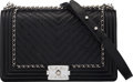 Luxury Accessories:Bags, Chanel Black Aged Chevron Quilted Lambskin Leather Medium ...