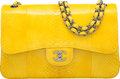 Luxury Accessories:Bags, Chanel Shiny Yellow Python Jumbo Double Flap Bag with Gunm...