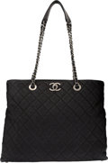 Luxury Accessories:Bags, Chanel Black Aged Quilted Lambskin Leather Tote Bag with R...
