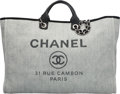 Luxury Accessories:Bags, Chanel Gray Woven Straw Raffia Large Deauville Tote Bag