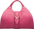 Luxury Accessories:Bags, Gucci Pink Ostrich Stirrup Top Handle Bag Co...