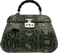 Luxury Accessories:Bags, Gucci Green & Blue Python Lady Lock Top Handle Bag...