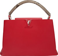 "Louis Vuitton Red Calfskin Leather & Python Capucines MM Bag Condition: 1 14"" Width x 9.5"" Height"