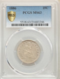 1886 25C MS63 PCGS. PCGS Population: (15/58 and 0/1+). NGC Census: (5/23 and 0/1+). CDN: $950 Whsle. Bid for problem-fre...