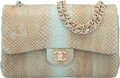 Luxury Accessories:Bags, Chanel Light Blue & Brown Python Jumbo Double Flap Bag wit...