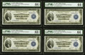 Large Size:Federal Reserve Bank Notes, Fr. 727 $1 1918 Federal Reserve Bank Notes PMG Graded Cut Sheet of Four.. ... (Total: 4 notes)