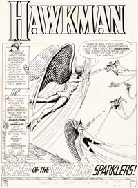 "Murphy Anderson Hawkman #2 ""Secret of the Sizzling Sparklers!"" Part 1 Hawkgirl Original Art Group of 8 (DC, 19..."