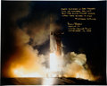 Explorers:Space Exploration, Alan Bean Signed Large Apollo 12 Launch Color Photo adding a Rudyard Kipling Quote. ...