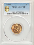 Lincoln Cents: , 1939-S 1C MS67 Red PCGS. PCGS Population: (449/0). NGC Census: (951/0). CDN: $110 Whsle. Bid for problem-free NGC/PCGS MS67...