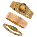 Estate Jewelry:Bracelets, Victorian Multi-Stone, Half-Pearl, Gold, Yellow Metal Bracelets. ... (Total: 3 Items)