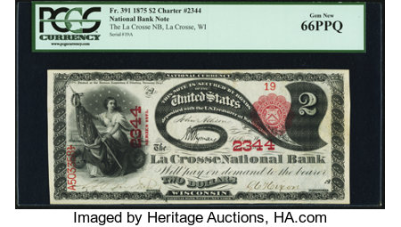 La Crosse, WI - $2 1875 Fr. 391 The La Crosse National Bank Ch. # 2344 PCGS Gem New 66PPQ. ...