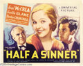 Movie Posters:Drama, Half A Sinner (Universal, 1934)....