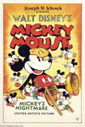 "Movie Posters:Animated, Mickey's Nightmare (United Artists, 1932). One Sheet (27"" X 41"").Walt Disney had been working for Charles Mintz at Winkler ..."