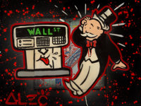 Alec Monopoly (b. 1986) ATM Monopoly, 2014 Mixed media on canvas 30-1/4 x 40 inches (76.8 x 101.6