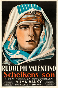 "The Son of the Sheik (United Artists, 1926). Folded, Very Fine+. Swedish One Sheet (23.5"" X 35.5"")"