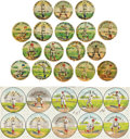 "Baseball Collectibles:Pins, C. 1900 Baseball ""Positions"" Pins (Stadium Backgrounds) Collection (17) and Proof Sheet. ..."