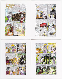 Dame Darcy Meat Cake #5 4-Page Color Production Art (Fantagraphics/VICE, 1995/2006)... (Total: 4 Original Art)