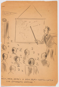 Roy Carling Football Coach Preliminary Original cartoon (c. 1950s)